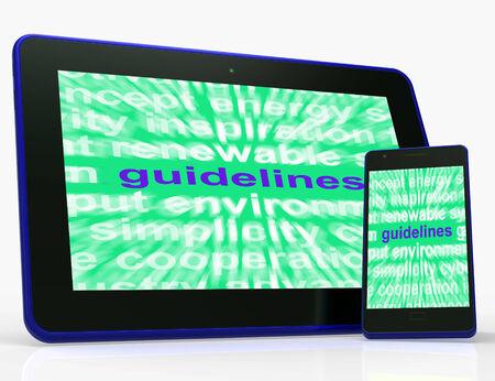 protocols: Istruzioni Tablet orientamenti Significato protocolli e regole di terra Archivio Fotografico