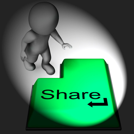 shared sharing: Share Keyboard Meaning Posting Or Recommending On Web Stock Photo