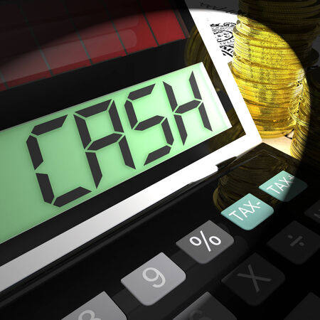 calculated: Cash Calculated Showing Money Earning And Spending Stock Photo