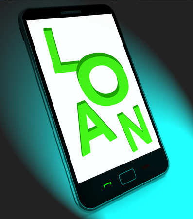 loaning: Loan On Mobile Meaning Lending Or Providing Advance Stock Photo