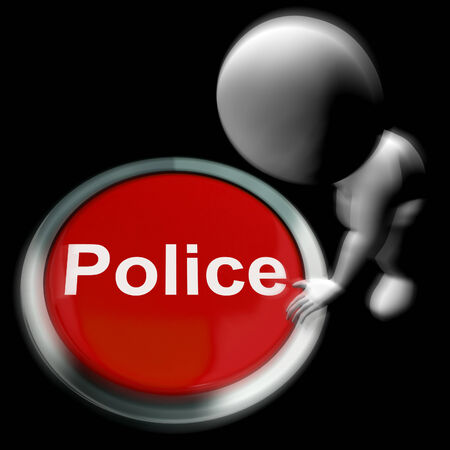 breakin: Police Pressed Showing Law Enforcement And Emergency Assistance Stock Photo