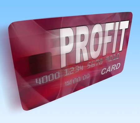 lucrative: Profit on Credit Debit Card Flying Showing Earn Money