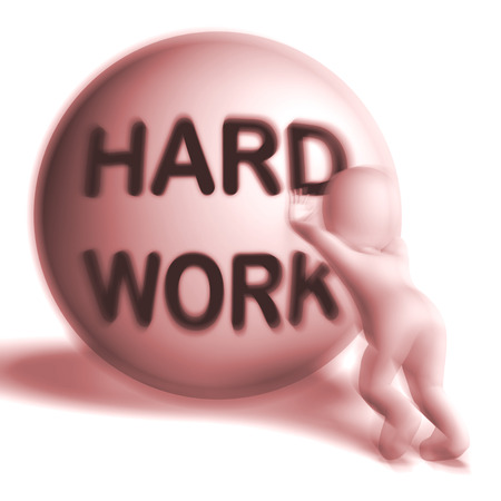 burdensome: Hard Work Uphill 3D Sphere Showing Difficult Working Labour