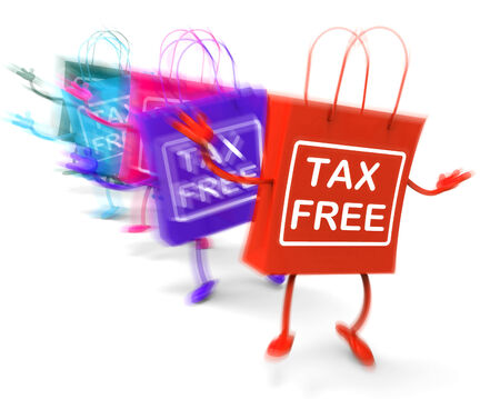 exempt: Tax Free Shopping Bags Representing Duty Exempt Discounts Stock Photo