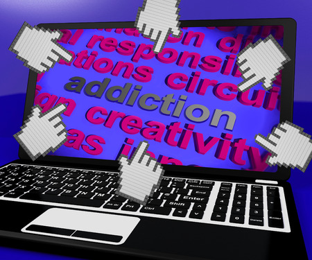 Addiction Laptop Screen Meaning Obsession Enslavement Or Dependence