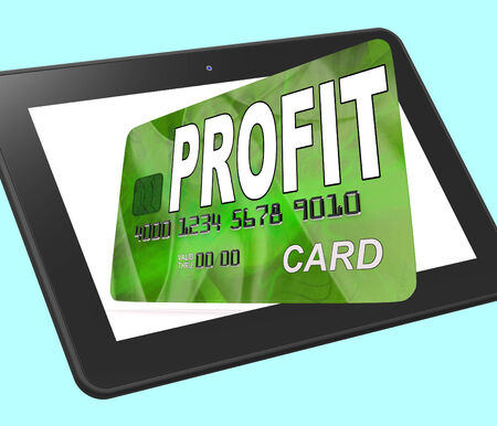 calculated: Profit on Credit Debit Card Calculated Showing Earn Money Stock Photo