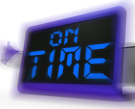 stipt: On Time Digitale Klok Toont Stipt en betrouwbaar Stockfoto