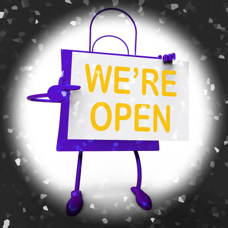 were: Were Open Sign on Shopping Bag Showing New Store Launch Or Opening