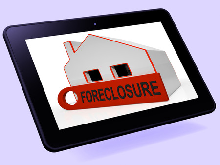 Foreclosure House Tablet Showing Repayments Stopped And Repossession By Lender