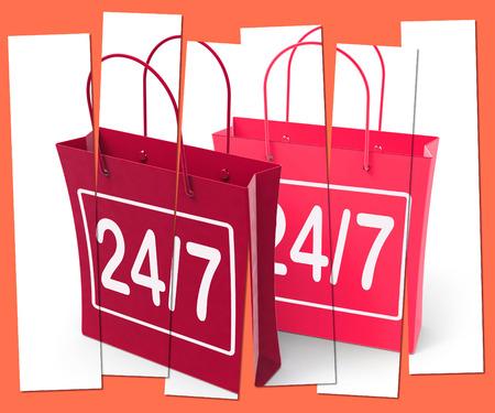 24x7: Twenty-four Seven Shopping Bags Showing Hours Open