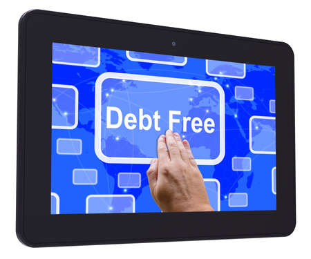 Debt Free Tablet Touch Screen Meaning Financial Freedom And No Liability photo