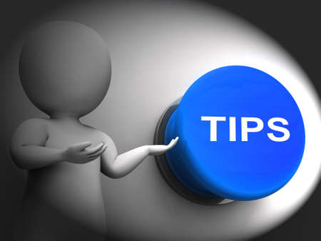 suggestions: Tips Pressed Showing Guidance Suggestions And Advice Stock Photo