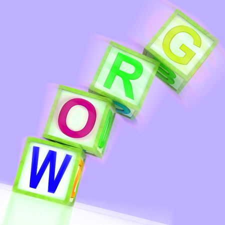 advancing: Grow Word Showing Advancing Expanding And Developing