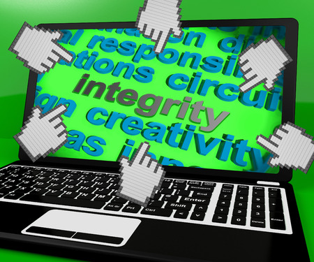 virtue: Integrity Laptop Screen Showing Morality Virtue And Decency Stock Photo
