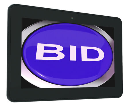 auction win: Bid Tablet Showing Online Auction Or Bidding