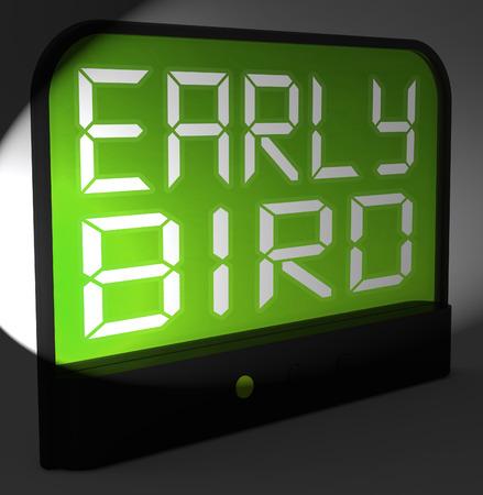 puntualidad: Early Bird Reloj digital mostrando Puntualidad O antes de lo previsto