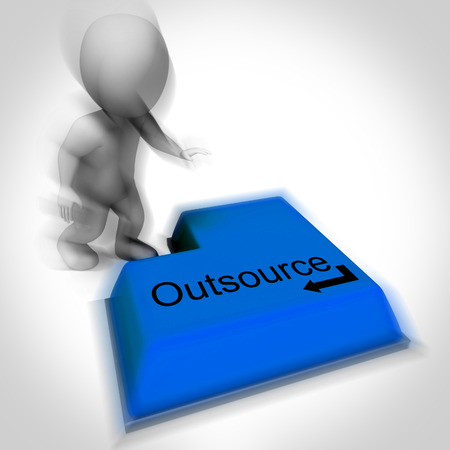 outsource: Outsource Keyboard Showing Subcontracting And Hiring Freelancers