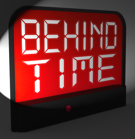 overdue: Behind Time Digital Clock Showing Running Late Or Overdue
