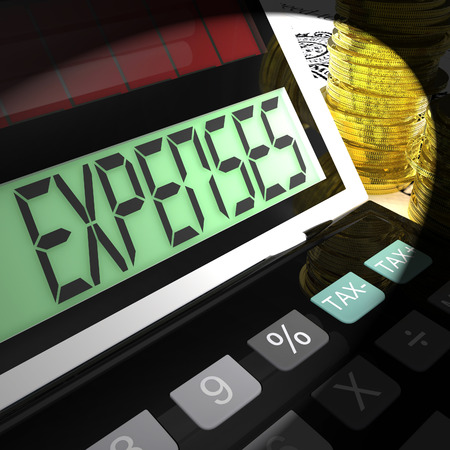 outgoings: Expenses Calculated Meaning Company Costs And Accounting Stock Photo