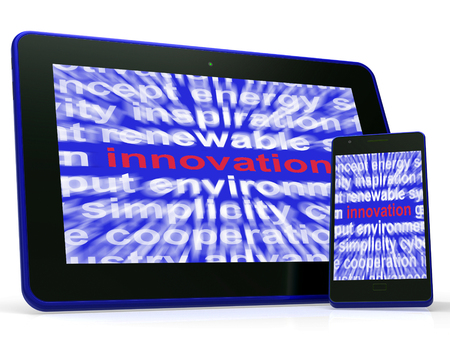 originality: Innovation Tablet Showing Originality Creating And Improving Stock Photo