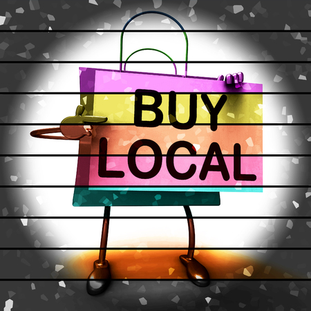 Buy Local Shopping Bag Showing Buying Products Locally