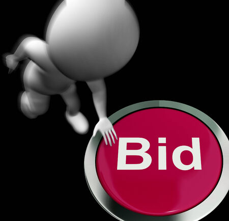 winning bidder: Bid Pressed Showing Auction Buying And Selling Stock Photo