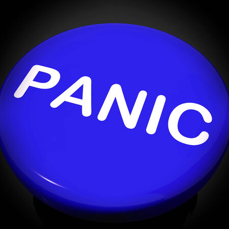 panicky: Panic Switch Showing Anxiety Panicking Distress Stock Photo