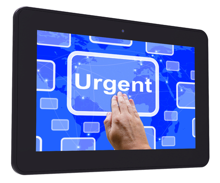 Urgent Tablet Touch Screen Showing Urgent Priority Or Speed Delivery