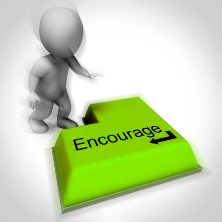 Encourage Keyboard Showing Inspiring Motivation And Reassurance Stock Photo