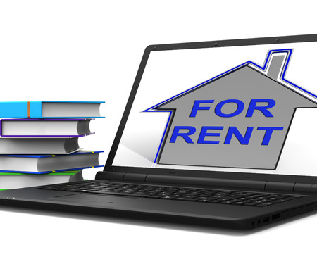 property management: For Rent House Tablet Showing Landlord Leasing Property To Tennant Stock Photo
