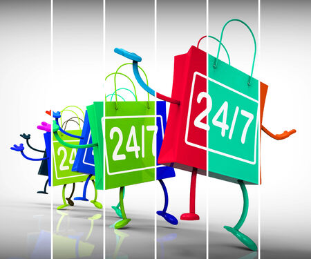 available time: Twenty-four Seven Shopping Bags Showing Availability All Week Long