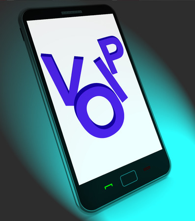 Voip On Mobile Showing Voice Over Internet Protocol Or Ip\ Telephony