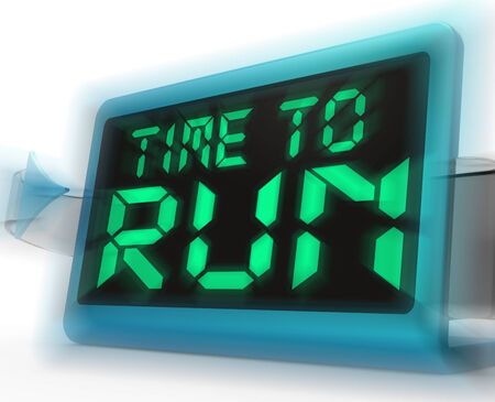must: Time To Run Digital Clock Meaning Under Pressure And Must Leave Stock Photo