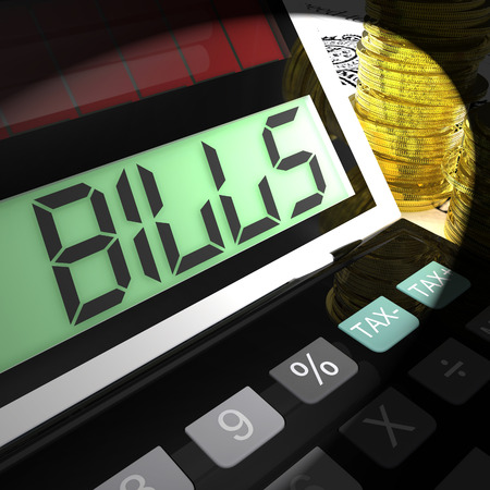 Bills Calculated Meaning Invoices Payable And Owing Stock Photo - 29054316