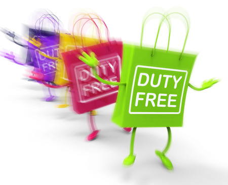 exempt: Duty Free Shopping Bags Showing  Tax Exempt Discounts Stock Photo