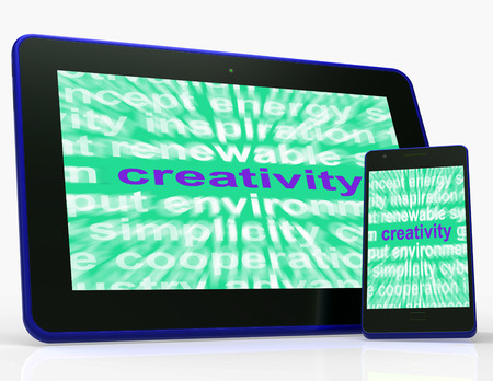 Creativity Tablet  Showing Originality, Innovation And Imagination Stock Photo