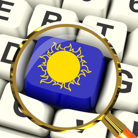 extreme heat: Sunny Key Magnified Meaning Hot Weather Or Sunshine Stock Photo