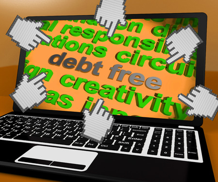 creditworthiness: Debt Free Laptop Screen Showing Good Credit Or No Debt Stock Photo