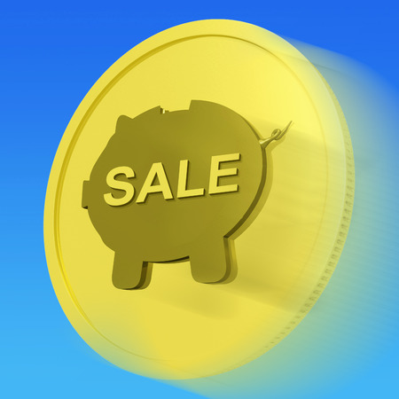 discounted: Sale Gold Coin Meaning Reduced Price Or Discounted Goods