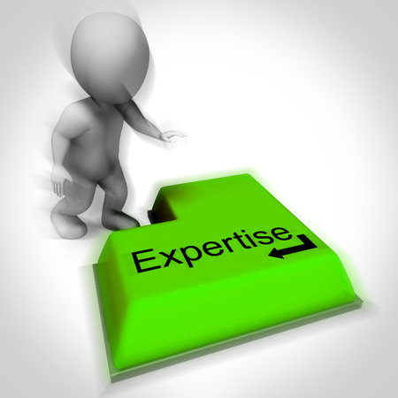 proficiency: Expertise Keyboard Showing Specialist Knowledge And Proficiency Stock Photo