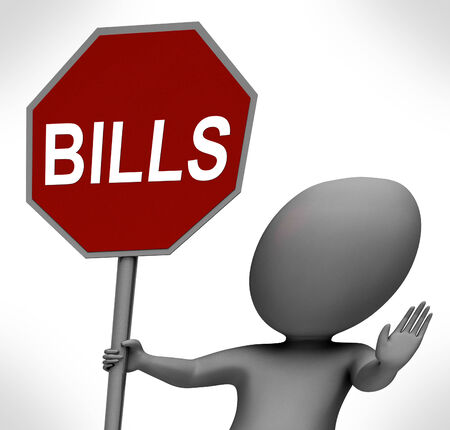 bill payment: Bills Red Stop Sign Meaning Stopping Bill Payment Due Stock Photo