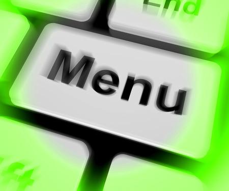 ordering: Menu Keyboard Showing Ordering Food Menus Online Stock Photo