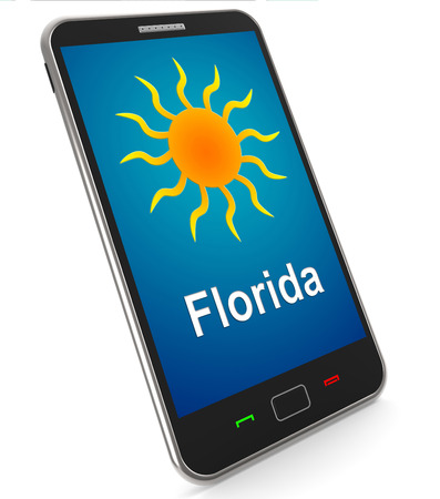 sunshine state: Florida And Sun On Mobile Meaning Great Weather In Sunshine State