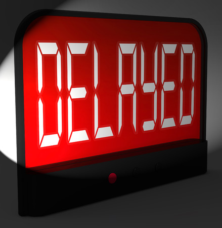 tardy: Delayed Digital Clock Showing Postponed Or Running Late