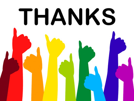 agradecimiento: Thumbs Up Mostrando Gracias mucho y todos los derechos