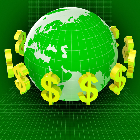 foreign currency: Dollars Forex Showing Foreign Currency And World Stock Photo