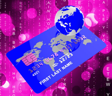 cashless: Credit Card Showing Shopping Cashless And World