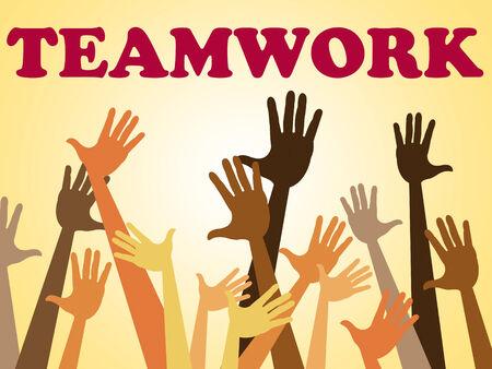 combined: Manos equipo que representa a la cooperaci�n y la humana combinada
