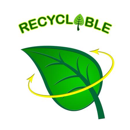 reciclable: Reciclable Hoja Mostrando Go Green Y Medio Ambiente