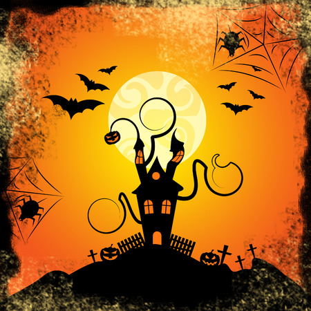 haunted house: Haunted House Meaning Trick Or Treat And Evil Spooky Stock Photo